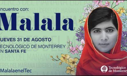 Por primera vez Malala ofrecerá charla en México; será en el Tec de Monterrey, campus Santa Fe, el 31 de agosto