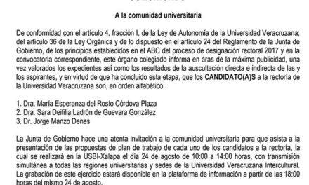 Define Junta de Gobierno de la UV aspirantes a Rectoría; van Sara Ladrón, Rosío Córdova y Jorge Manzo