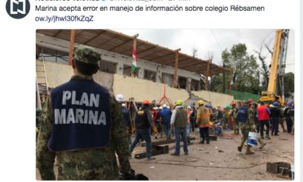 Acepta Marina error en versión de colegio Enrique Rébsamen, tuitea Noticieros Televisa