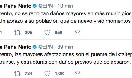 Autoridades desplegadas en Oaxaca evalúan daños por nuevo sismo Peña Nieto
