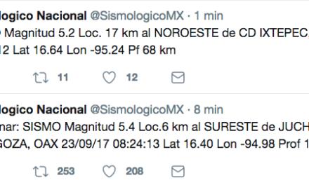 Se registra otro sismo de 5.2 en Oaxaca