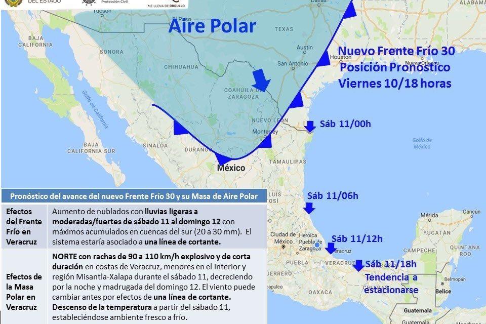 Se espera norte con rachas de 110 km/h en el Estado y baja temperatura el sábado.