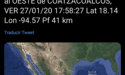Tiembla en Coatzacoalcos, Fue de magnitud 4 y tuvo como epicentro el oeste de la ciudad