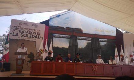 Encabeza Cuitlahuac desfile Cívico Militar en por 158 Aniversario de Los Tratados de La Soledad