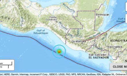 Reportan sismo magnitud 5.7 en Ciudad Hidalgo, Chiapas