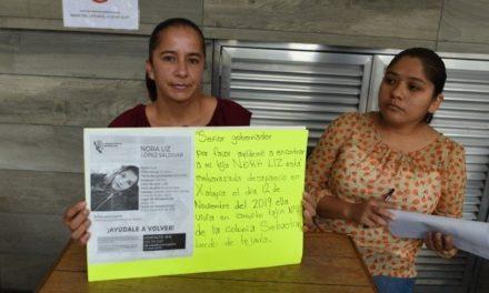 Nora Liz López está embarazada y sigue desaparecida desde hace 3 meses, señaló su mamá esta mañana en el centro de Xalapa