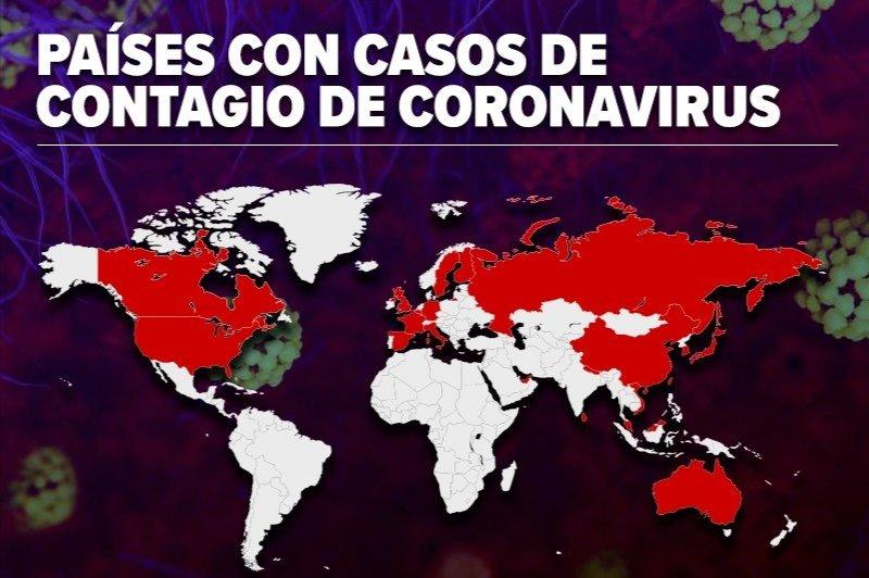 Qué países tiene casos de coronavirus? Aquí el mapa actualizado