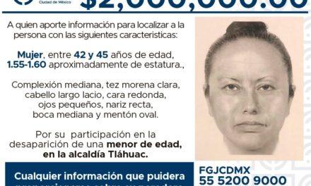 Difunde Fiscalía capitalina el retrato hablado de la mujer que presuntamente se llevó a Fátima de la escuela el pasado
