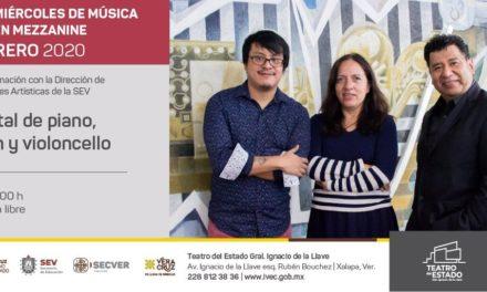 """Recital """"Piano, violín y violoncello en el Teatro del Estado, entrada libre"""