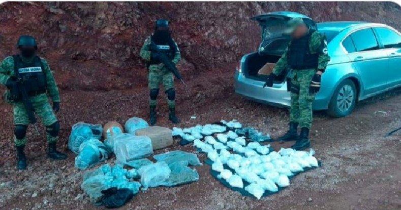 Guardia Nacional asegura 25 kilos de crystal y más de 50 kilos de marihuana en Sonora