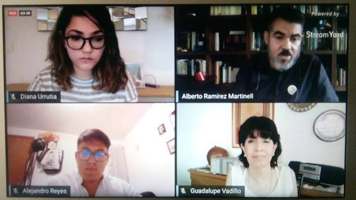 Diana Urrutia, Alberto Ramírez Martinell, Alejandro Reyes y Guadalupe Vadillo durante el webinar
