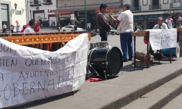 Marimberos se manifiestan en la Plaza Lerdo de Xalapa