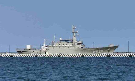 Llegó a Veracruz el buque ARM Huasteco para apoyar contra el COVID19 . Está atracado en el muelle de la Secretaría de Marina