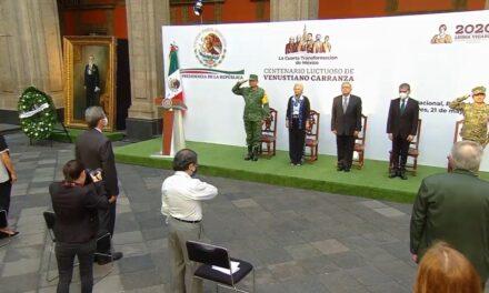 Realizan en Palacio Nacional acto conmemorativo por el centenario luctuoso de Venustiano Carranza