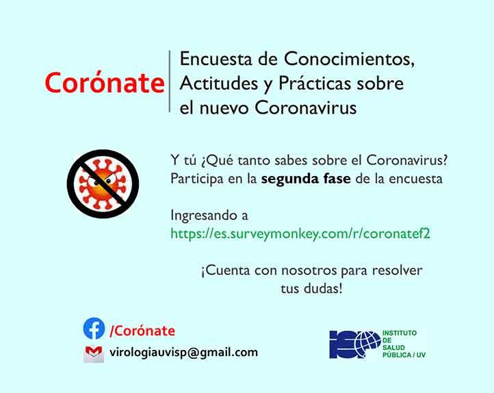 El Instituto de Salud Pública de la UV invita a participar en la encuesta en línea sobre conocimientos, actitudes y prácticas sobre el coronavirus