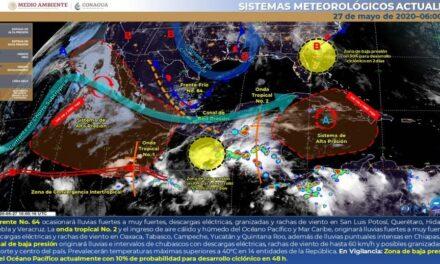Frente No. 64 se extenderá con características de estacionario sobre el Golfo de México y norte de Veracruz, sin embargo, ocasionará lluvias fuertes a muy fuertes con descargas eléctricas, granizadas y rachas de viento en San Luis Potosí, Querétaro, Hidalgo, Puebla y Veracruz.