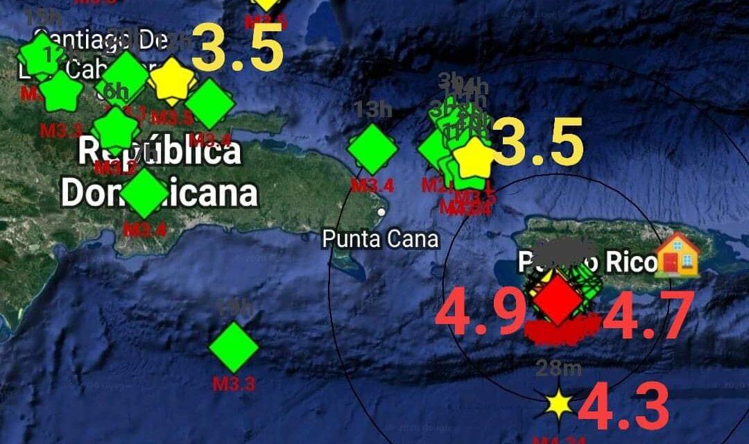 En Puerto Rico, se han reportado 11 sismos de magnitudes: 4.8, 4.4, 3.0, 3.0, 3.5, 3.1, 3.5, 3.1, 3.2, 3.5, 3.6 con poco tiempo de diferencia y muy superficiales