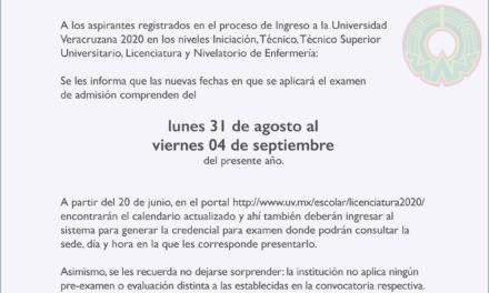 UV presenta las nuevas fechas del EXAMEN DE ADMISIÓN