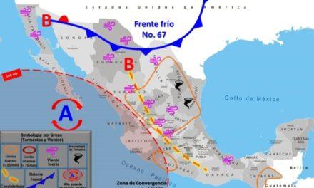 Frente frío 67 provocará lluvias y tornados en México