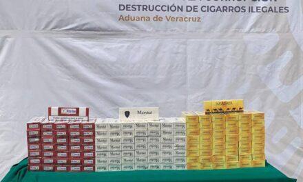 Realizan destrucción de más de 31 millones cigarros ilegales en la aduana marítima del Puerto de Veracruz.