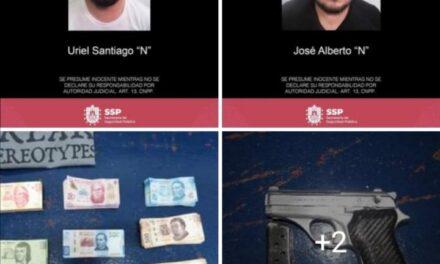 Captura SSP a dos en Córdoba por presunto robo y portación ilegal de arma