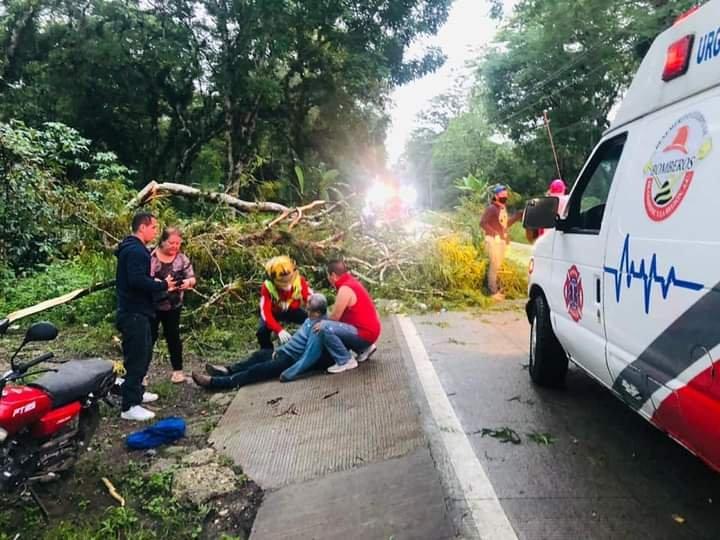 Motociclista lesionado al chocar contra árbol en la carretera Trancas-Coatepec