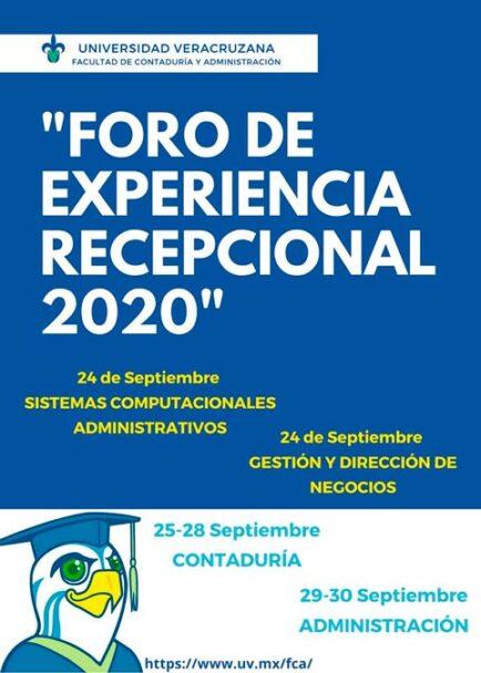 La Facultad de Contaduría y Administración realizó el Foro de Experiencia Recepcional 2020 en modalidad virtual