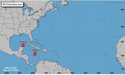Se forma la tormenta Delta a mil km de Cancún Prevén que evolucione a huracán el próximo miércoles, cerca de Cabo Catoche, en Quintana Roo; en el sureste continúa su recorrido la tormenta Gamma