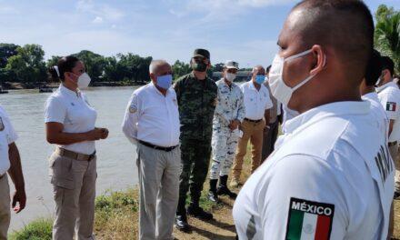 Mandos de la Sedena, Semar y GN supervisaron el operativo de 24 horas desplegado a lo largo del río Suchiate