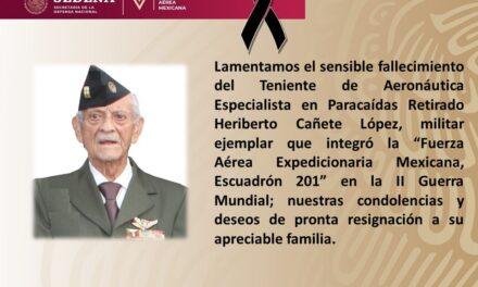Falleció Heriberto Cañete López, integrante del Escuadrón 201, que participó en la Segunda Guerra Mundial
