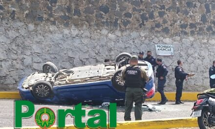 Video: Vehículo cae de distribuidor vial en la carretera Las Trancas-Coatepec, a la altura de La Pradera
