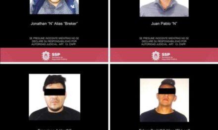 Cuatro detenidos por presuntos delitos contra la salud y portación ilegal de armas: SSP