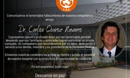 Fallece el Dr. Carlos Quiroz ginecólogo del CAE