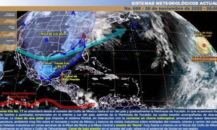 Frente frío 17 provocará lluvias y temperaturas bajas en gran parte del país