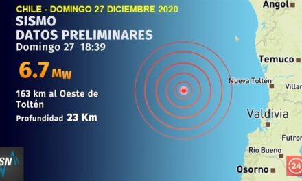 Fuerte sismo sacudió la zona centro y sur de Chile.