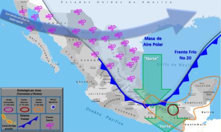 Frente frío 20 provocará lluvias en el sureste de México