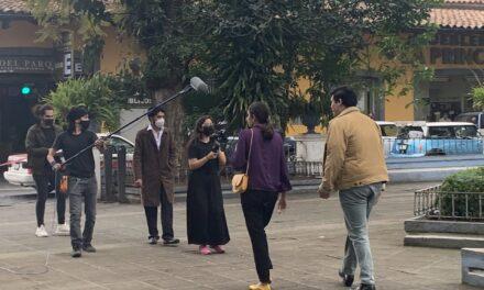 Realizan grabación de cortometraje en el primer cuadro del centro de Coatepec