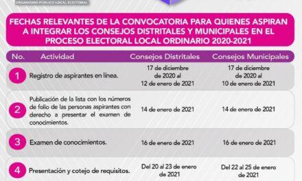 Ople convoca a la población que quiera participar en la integración de los consejos municipales y distritales del proceso electoral del 2021.