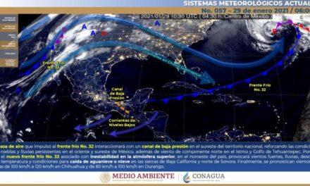 Frente Frío no. 33 dejará nevadas en Sonora y Baja California y fuertes rachas de viento en Chihuahua y Durango