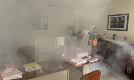 Realizan tareas de desinfección en todas las instalaciones del Poder Judicial del Estado de Veracruz.