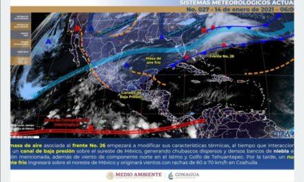 Esta tarde ingresará el frente frío 27 por el norte del país: Conagua