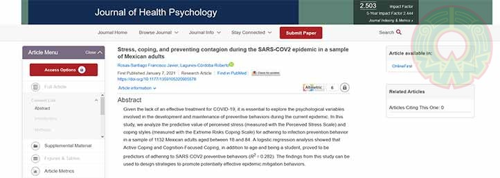 El Journal of Health Psychology publicó un estudio sobre Covid-19 de investigadores del IIP-UV