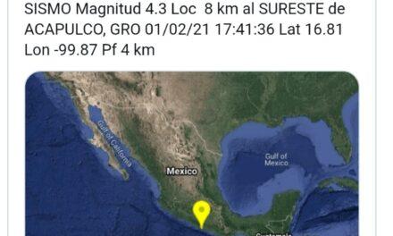 SISMO MAGNITUD 4.3 SACUDE PLAYAS DE ACAPULCO, GUERRERO