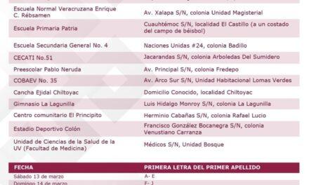 Atención Xalapa, aquí las sedes de vacunación apartir del día 13 de marzo
