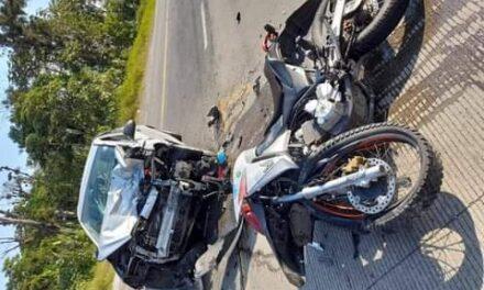 Motociclista lesionado en la carretera Las Trancas – Coatepec, a la altura de Puerto Rico