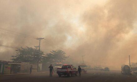 Cierre de Vialidad por incendio forestal, sobre la Carretera Veracruz-Medellín.