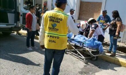 Dos albañiles reciben descarga electrica en el centro de Veracruz