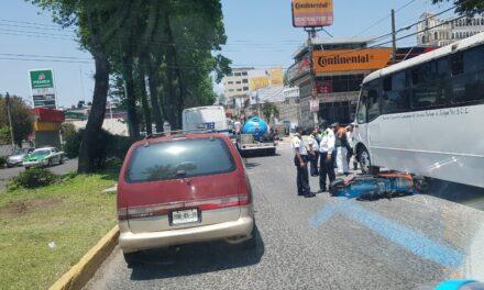 Motociclista lesionado en accidente de tránsito sobre  la avenida Xalapa