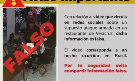 Falso Video que circula en redes sociales sobre un supuesto ataque armado en un restaurante de Veracruz.