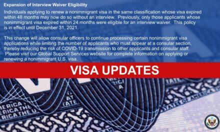Estados Unidos permite renovar visas sin necesidad de entrevista